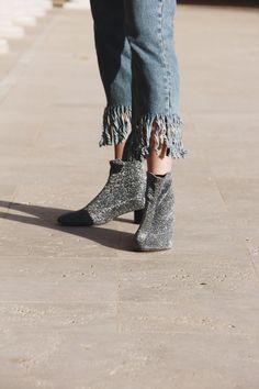 Glitter Silver Boots