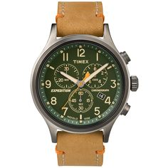 Timex Expedition Scout Men's Chronograph Green Dial Watch With Tan Leather Strap Tan/green Green Leather, Tan Leather, Sport Watches, Watches For Men, Wrist Watches, Timex Expedition, Timex Watches, Men's Watches, Luxury Watches