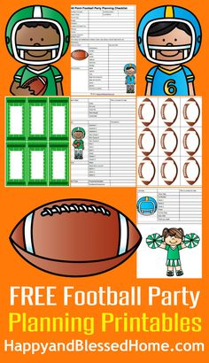 FREE Football Party Planning Printables including name Tags and Food Labels with 3 Football Themed Recipes and Party Games from HappyandBlessedHome.com #BigGameSnacks #ad #CollectiveBias