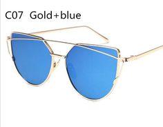 Women Sunglasses 2017 New Brand Design Mirror Flat Rose Gold Vintage Cateye Fashion sun glasses lady Eyewear Gold Blue
