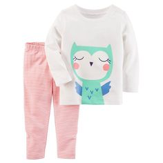 Baby Girl Carter's Owl Graphic Tee & Striped Leggings Set, Size: 18 Months, White