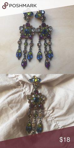 Clip on rhinestone chandelier earrings 3 inches long, multi-color rhinestone clip on earrings. Jewelry Earrings