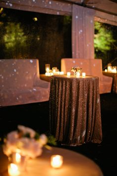 Gold Sequin Linens | photography by http://www.kristynhogan.com/ lighting makes everything look sparkling/glittery