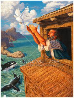 Noah releases a dove after the Great Flood Noah Flood, Horsemen Of The Apocalypse, Bible Pictures, Prophetic Art, Biblical Art, Kingdom Of Heaven, Old Testament, Bible Stories, Bible Art