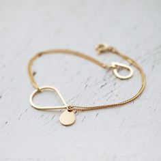 Golden Vermeil or Silver raining droplets bracelet