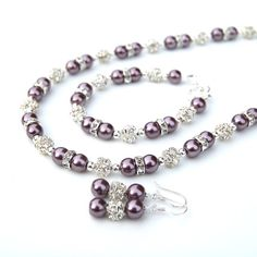 Bridesmaid Jewelry Set Eggplant Pearl Rhinestone by AMIdesigns, $77.00