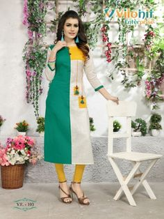 Vilohit enterprise Payal vol 1 Simple Kurti Designs, Kurta Designs Women, Kurti Neck Designs, Dress Neck Designs, Salwar Designs, Blouse Designs, Kurta Patterns, Fancy Kurti, Kurti Styles