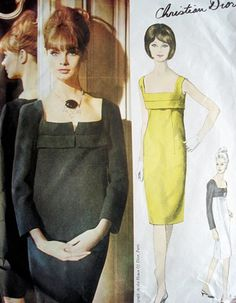 1960s Classic DIOR Dress Pattern Vogue Paris Original 1311 Vintage Sewing Pattern Perfect Little Black Cocktail Evening Dress Low Square Neckline Empire Sheath Bust 31