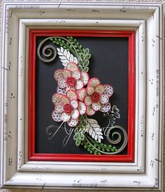 Ayani art: Vintage quilling in red, cream  and green
