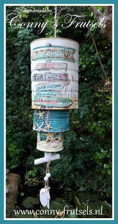 Decoupage with Ambiente napkins Tin Can Crafts, Bead Crafts, Beach Relax, Boat Rental, Ladies Night, Beach Cottages, Wind Chimes, Napkins, Island