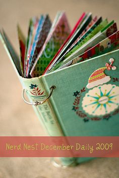 old book: remove spine and use pages as base to affix scrap paper or replace book signatures with same size scrap paper for a journal, scrap book, photo album. Make a theme, use to collect most cherished Christmas & Birthday cards or use all your Wedding/Shower cards to create a keepsake of events