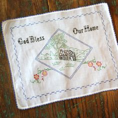 Vintage Hand Embroidered Dresser Scarf by MyPaisleyPrairie, via Etsy.