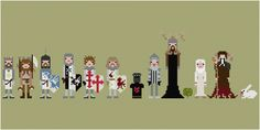 """Impossibly Cool 8-Bit Cross-Stitched Monty Python. """"It's just a flesh wound."""""""