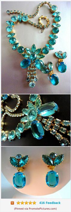 Aqua JULIANA D&E Rhinestone Necklace Earrings Set, Gold Plated, Vintage #necklace #earrings #jewelryset #juliana #aqua https://www.etsy.com/renaissancefair/listing/529311289/aqua-juliana-de-rhinestone-necklace?ref=listings_manager_grid (Pinned using https://PromotePictures.com)