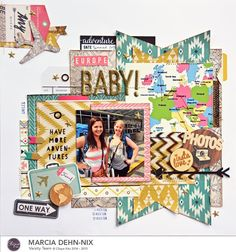 Europe Baby! scrapbook layout created with the Clique Kits June kit featuring the Crate Paper Journey collection, Maya Road wood tokens, and My Minds Eye Niche alphas #scrapbook #cratepaper #vacation