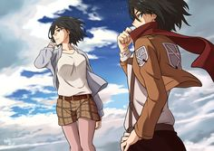 Izumi Nase and Mikasa Ackerman by manzr.deviantart.com on @deviantART