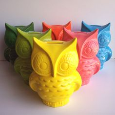 Owl Planter Ceramic Vintage Design In Lemon Yellow Makes A Great Office Gift Retro Mod Style
