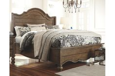 Light Brown Tanshire Queen Panel Bed $807 | Ashley Furn