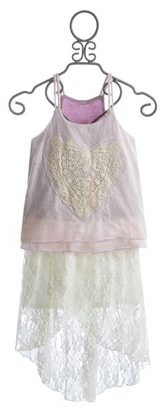 Tru Luv Tween Skirt Set Lavender and Ivory Layered Hi Low Lo Top and Dress Lace