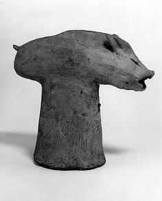 Haniwa head of boar, 2nd-3rd century, Japan