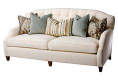 """Avignon 84"""" Tufted-Back Sofa, Ecru      $1,700.00  $3,399.00 50% Off...frame, hardwood/oak;      One Kings Lane"""