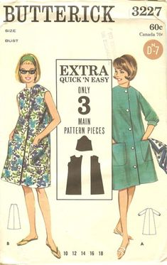"""Butterick 3227 vintage 1960s Beach or House dress (""""Extra quick and easy"""" to make)"""