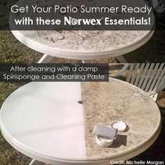 For your patio furniture, try Norwex SpiriSponge and Cleaning Paste for those areas that need a good scrub down Norwex Biz, Norwex Cleaning, Green Cleaning, Spring Cleaning, Cleaning Hacks, Norwex Products, Cleaning Products, Plastic Patio Furniture, Lawn Furniture