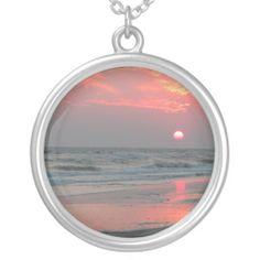 Shop One Perfect Sunset - Oak Island, NC Silver Plated Necklace created by willowdewisp. Gemstone Jewelry, Jewelry Box, Jewlery, Unique Jewelry, Oak Island, Girls Best Friend, Fashion Necklace, Silver Plate, Pendants