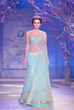 Lengha by Jyotsna Tiwari at India Bridal Fashion Week 2014 Looks like an indian version of elsa dress Indian Bridal Wear, Indian Wedding Outfits, Indian Outfits, Bride Indian, Indian Weddings, Indian Wear, India Fashion, Ethnic Fashion, Asian Fashion