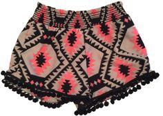 Vintage Havana P6 Girls Black/Coral Diamond Tribal Pom-Pom Shorts Pom Pom Shorts, Vintage Havana, Boho Shorts, Random Stuff, Girl Outfits, Coral, Diamond, Girls, Clothes