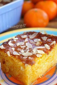 Clementine Syrup Cake, Clementine Syrup Cake Recipes, Clementine Syrup Cake with Phyllo Pastry Greek Sweets, Greek Desserts, Greek Recipes, Just Desserts, Delicious Desserts, Donut Recipes, Cake Recipes, Dessert Recipes, Sweets Cake