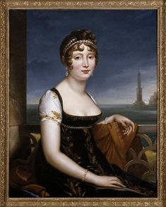 Caroline Murat in front of the Bay of Naples; by Gérard François Pascal Simon, c. 19th century