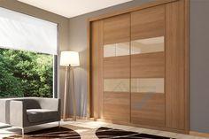 Aramario empotrado de puertas correderas combinando vidrio moka y melamina de diseño Fresno marrón