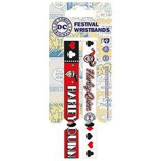 """Coppia di braccialetti """"Batman"""" con stampa, larghezza 1 cm, regolabili in lunghezza."""