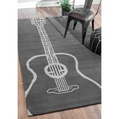 nuLOOM Handmade Luna Guitar Grey Rug (4' x 6') | Overstock.com Shopping - The Best Deals on 3x5 - 4x6 Rugs