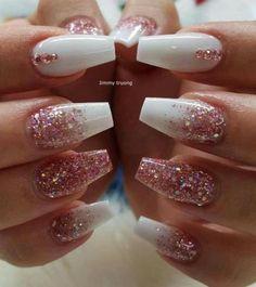 # Nails nails # nails # nails ideas # nails ideas - Valentinstag Nägel - Make Up Aycrlic Nails, Fun Nails, White Nail Designs, Nail Designs With Glitter, Cute Acrylic Nails, Glitter Nail Art, Rose Gold Glitter Nails, White Acrylic Nails With Glitter, Coffin Nails Glitter