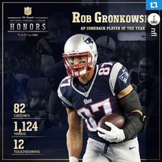 """Congrats to Gronk for being named Comeback Player of the Year! #NFLHonors"""