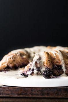 Blueberry Bread Pudding Breakfast Cake with Vanilla-Hemp Crème Anglaise