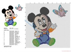 Baby Disney Mickey Mouse with butterfly cross stitch pattern