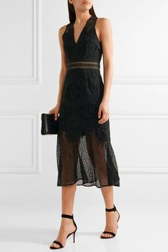 Black corded lace and crochet-knit  Concealed hook and zip fastening at back Fabric1: 59% viscose, 37% acetate, 4% elastane; fabric2: 90% polyester, 10% rayon Dry clean