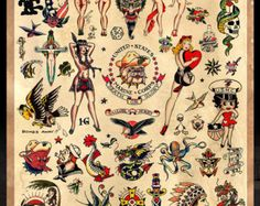 "Sailor Jerry Tattoo Flash #2 - cartel imprimir 24 ""x 36"" - envío en Estados Unidos."