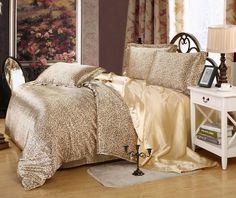 luxury silk Leopard design duvet cover set twin full queen super California king