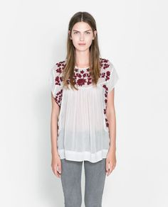 Image 1 of FLOWING EMBROIDERED TOP from Zara