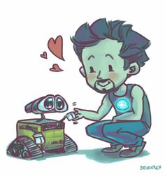 No. Tony. NO! You can NOT adopt him!  He has to go back where he came from. (He's got a steady girlfriend for crying out loud.)  Iron Man/Tony Stark and Wall*E
