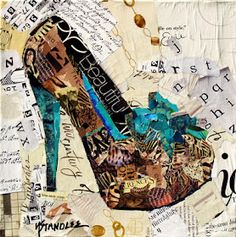 Kiss Each Other 12020, 10x10, Animal Print High Heel Torn Paper Collage Painting by Nancy Standlee, Texas Contemporary Artist.