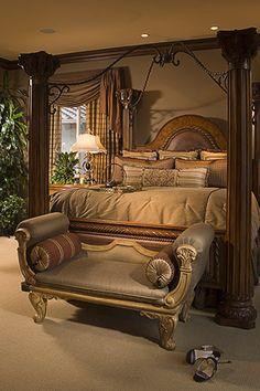Beautiful kingsize bed~Great brown color! www.rejoyinteriors.com