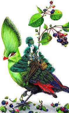 Flower Mood-Girl with green bird- Watercolor Fashion illustration   sunnygu