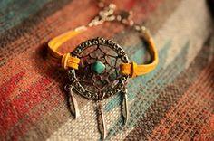 NEW Color Gold Suede Dreamcatcher Made to Order Bracelet or Anklet. $21.00, via Etsy.