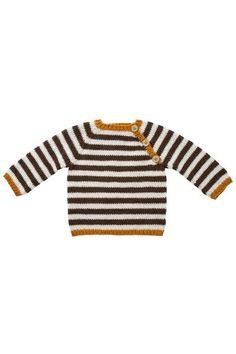 Modellen er strikket i Fino Organic Cotton+Merino Wool (50% økologisk bomuld+50% merino Uld).  [url=http://www.onion.dk/fino-organic-cotton-merino-wool/ target=_blank]KLIK HER for at se alle farver i garnet[/url] (åbner i ny fane, som kan klikkes væk igen).  Størrelse:                  0-3    (6)       9     (12) mdr Overvidde, model:      42    (48)     52    (58) cm Hel længde, model:     24    (28)     31    (34) cm  Garnforbrug: fv.516 brun                 1       (1)     2       (2)…