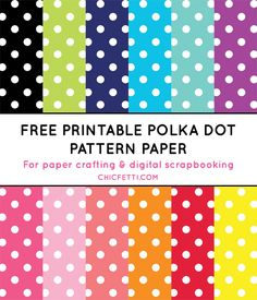 Polka Dot Digital Paper (in 12 colors) – Scrapbooking Digital Scrapbook Paper, Printable Scrapbook Paper, Printable Banner, Free Printable, Digital Papers, Digital Paper Freebie, Polka Dot Paper, Polka Dots, Binder Covers